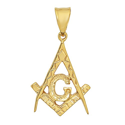 25mm Rope Chain (The Bling Factory Men's 14k Gold Plated Large Masonic Freemasonry Pendant - 25mm x 34mm + 20
