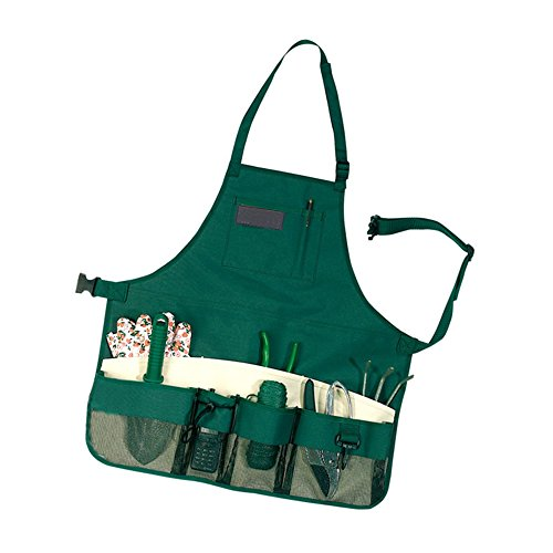 Calunce Tool and Utility Full Size Apron- Waterproof Oxford Material With Adjustable Neck and Waist Strap, Green (full (Garden Utility Belt)