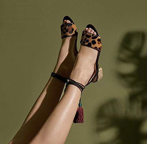 Schutz Adria Leopard Open-Toe Slip-On Low Heel Tasseled Ankle Wrap Sandals (6, Leopard)