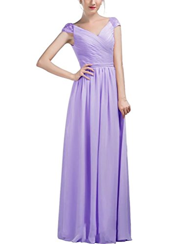 Sleeves Lace Bridesmaid neck AiniDress Lilac Women's Dresses with Long Chiffon Cap V w8xfqvU
