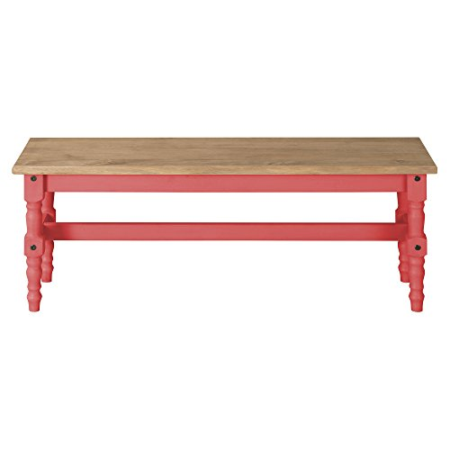 Manhattan Comfort Jay Collection Traditional Wooden Dining Table Bench with Trim Finish, Red/Wood by Manhattan Comfort (Image #2)