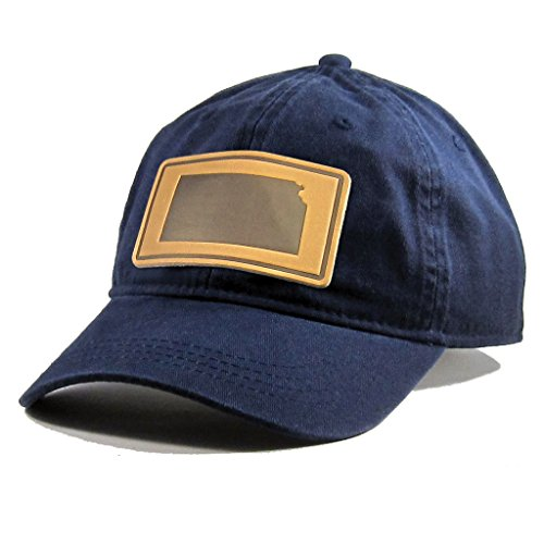 Homeland Tees Men's Kansas Leather Patch Cotton Twill Hat Navy