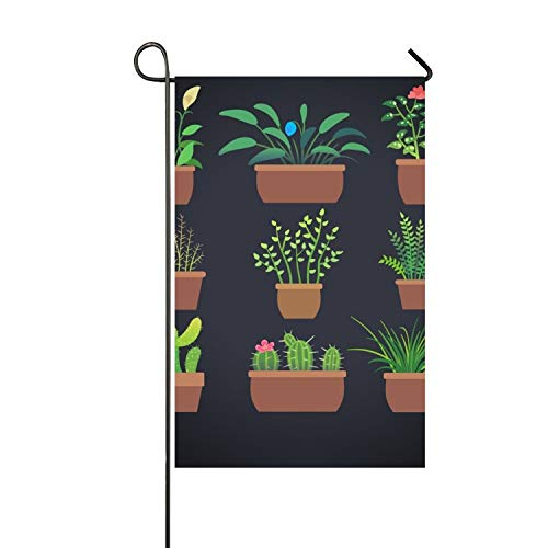 HOOSUNFlagrbfa House Plants Flowers Double-Sided Appliqu¨¦ Garden Flag-12 W by 18¡±H-Outdoor Flag