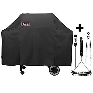 Kingkong 7573 / 7106 Grill Cover for Weber Spirit 200, 300 Series and Weber Genesis Silver Gas Grill with Grill Brush, Tongs and Thermometer