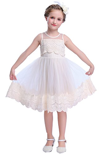 Happy Rose Flower Girl's Dress Vintage Lace Ivory Cream 8 Vintage Ivory Lace