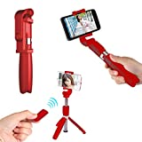 SelfieCom Bluetooth Selfie Stick Tripod,SelfieCom Extendable Selfie Stick Monopod with Wireless Remote and Tripod Stand Selfie Stick for iOS Phones/Huawei/Samsung/Google (Red)