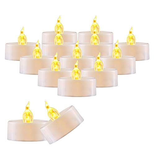 AMAGIC 36 Pack Flameless Battery Operated Tea Lights, Small Electric Tealight with Amber Yellow Flickering Bulk, LED Plastic Candle for Holiday & Home Decoration, 1.4 x 1.3, White