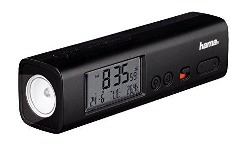Hama Wecker Taschenlampe (digitaler Reisewecker mit DCF Funkuhr, LED Taschenlampe und Temperaturanzeige, Snooze Funktion) schwarz