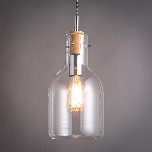 JiaYouJia Vintage Clear Glass Wine bottle 1-Light Wire Suspended Pendant Light ,Style C