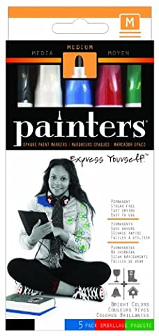 Elmer's Painters Opaque Paint Markers, Set of 5 Markers, Bright Colors, Medium Point (WA7518)