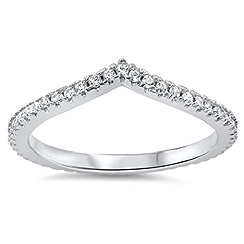 Chevron Pointed Arrow White CZ Unique Ring .925 Sterling Silver Band Size 7 (RNG14398-7) (Chevron Cz Ring)