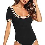 DIDK Women's Ribbed Knit Striped Scoop Neck Bodysuit Black M