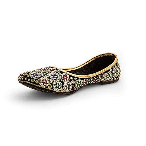Kalakarindia Designer Rajasthani/ Jaipuri Ethnic Velvet Mojari/Jutti for Girls/ Women's - Jaipuri Velvet