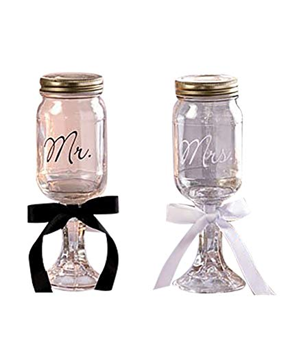 Mr. and Mrs. Mason Jar Goblets Set]()