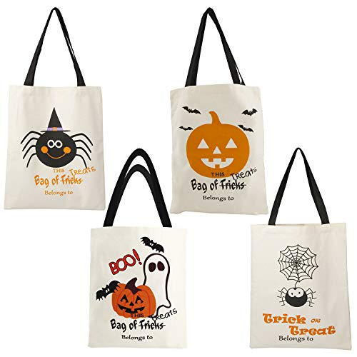 4pcs Halloween Canvas Tote Bags Large Trick or Treat Bag Gift Candy Treat Goodie Purse for Kids Women Party Decorations Gifts, Pumpkin Ghost