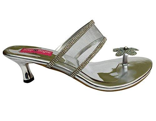 para plateado mujer Style Sandalias de de vestir plata Sintético Material Step n 8Bq7xv