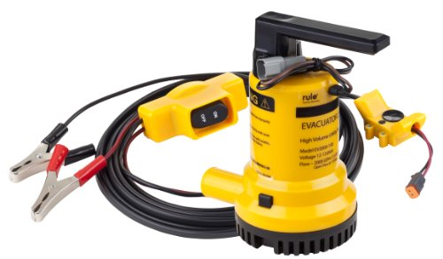 Rule Evacuator 2000-High Capacity Submersible 12 Volt DC Utility Pump (Yellow/Black) by Rule