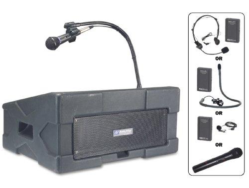 Wireless Ampli-Pod Podium PA UHF Mic + CD Player + Electret ()