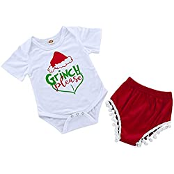 Infant Baby Girls Xmas 2pcs Clothes Set Toddler Baby Grinch Please Funny Letter Printed Bodysuit Matching Shorts Outfits (12-18M, White)