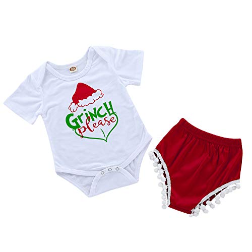 Infant Baby Girls Xmas 2pcs Clothes Set Toddler Baby Grinch Please Funny Letter Printed Bodysuit Matching Shorts Outfits (6-9M, White) ()