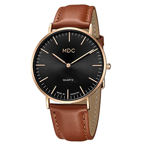 MDC Mens Brown Leather Minimalist Watch, Ultra-Thin Slim Classic Casual Dress Wrist Watches for Men with Leather Band Strap