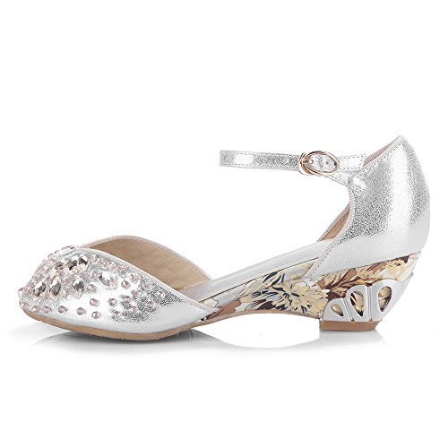 AgooLar Women's Soft Material Buckle Peep Toe Kitten-Heels Solid Sandals Silver nVzoKOO7x