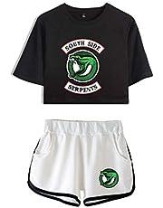 Flyself Unisex Riverdale Casual Crop T-Shirt + Short Set Southside Serpents Summer Sports Suit for Girls Women