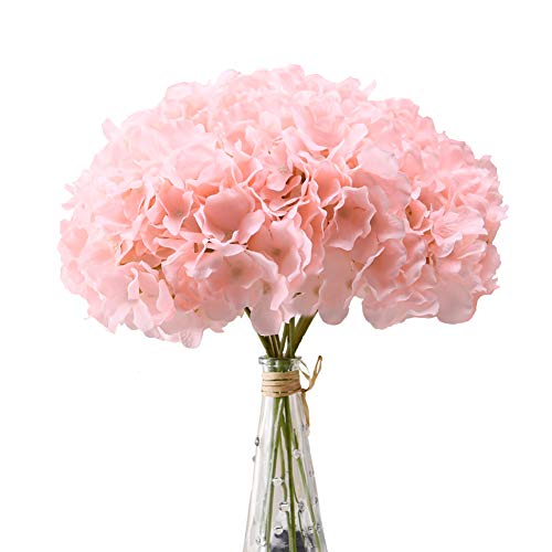 Aviviho Hydrangea Silk Flowers Heads Blush Pack of 10 Full Hydrangea Flowers Artificial with Stems for Wedding Home…