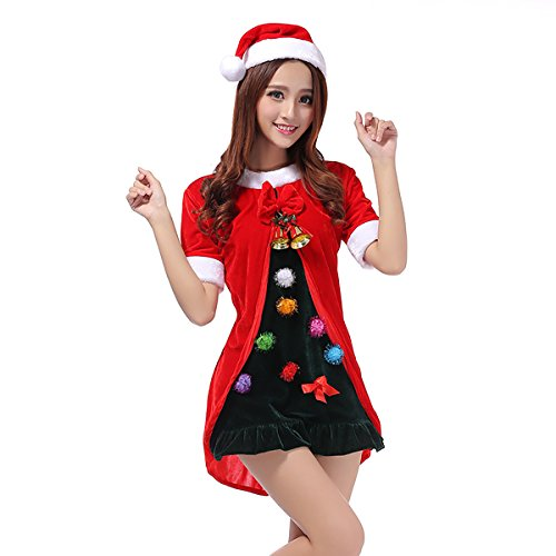 Veroman Women's Christmas Mrs. Santa's Costume (Tree) (Funny Santa Costumes)