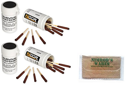 NDuR Survival Matches Windproof Waterproof 4-pk + Nimrod's Wares Microfiber Cloth by Nimrod's Wares