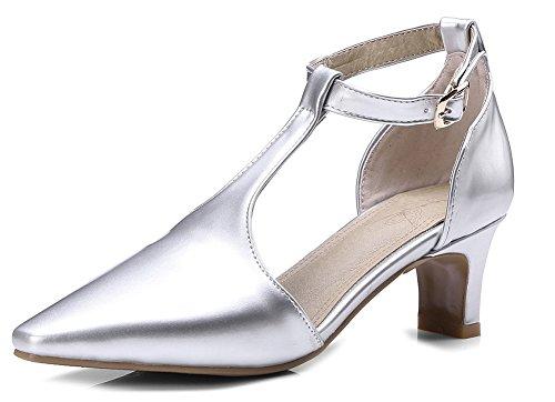 Boucles Femme Mode Avec Bout Escarpins Aisun Strap Pointu Salomé Travail T Argent RvdfUwq