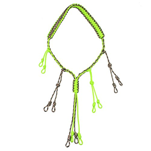 PSKOOK Duck Call Lanyard Paracord Hunting Goose Calls 12 Adjustable Loops Outdoor Predator Gear for Pheasant Waterfowl Hand Braided Necklace (Green)