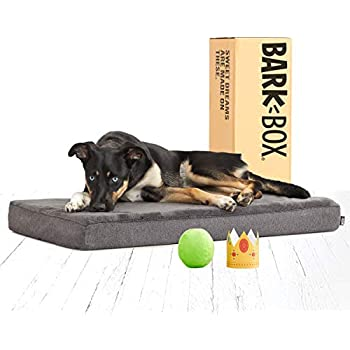 BarkBox Memory Foam Dog Bed | Plush Orthopedic Joint Relief Mattress Machine Washable + Removable Cover; Water Resistant Lining, Includes Squeaker Toy | Medium | Grey