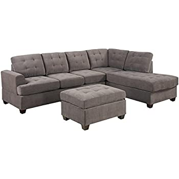 Amazon 3pc Modern Reversible Grey Charcoal Sectional Sofa
