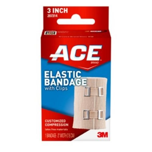 Image of 3M Health Care 207314 ACE Elastic Bandage with Clips, 3' W, Beige (Pack of 72) Adhesive Bandages