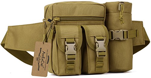 ArcEnCiel Tactical Waist Bag Waterproof Bum Bag Military Waist Utility Belt Water Bottle Pouch Pack for Trekking Hiking Walking Bike Cycling Climbing (Coyote Brown)