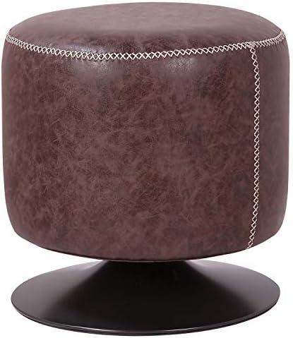 New Pacific Direct Gaia PU Leather Round Ottoman Ottomans Cubes - a good cheap ottoman chair