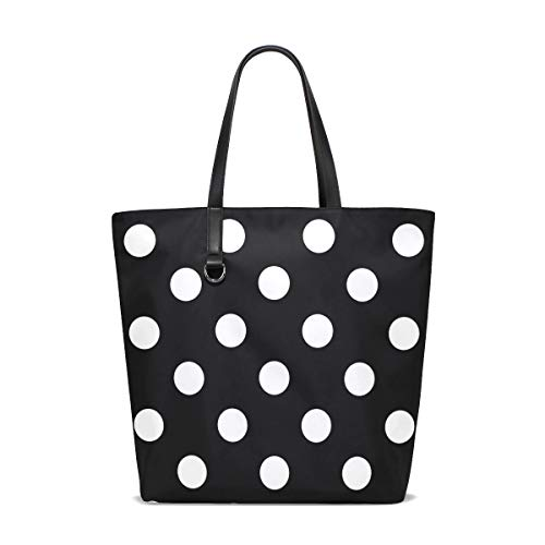 Hipster White Black Polka Dot Tote Bags Handbag Waterproof Shopping Totes For Women Girls Travel Beach Double-sided use
