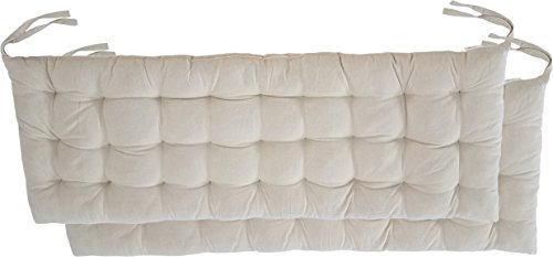 "Cottone 100% Cotton Chair Pads w/Ties (Set of 2) | 40"" x 16"" Bench Cushion 