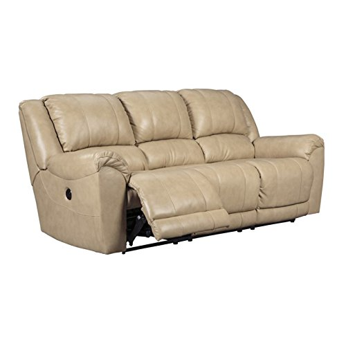 """Ashley Yancy 2920288 91"""" Reclining Sofa with Pillow Top Arms Top Grain Leather Seat Vinyl and Leather Match Upholstery in Galaxy"""