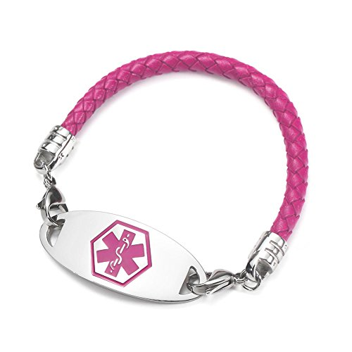 BBX JEWELRY Purple Leather Medical Alert Bracelets with Interchangeable Pink Medical ID Tag for Women