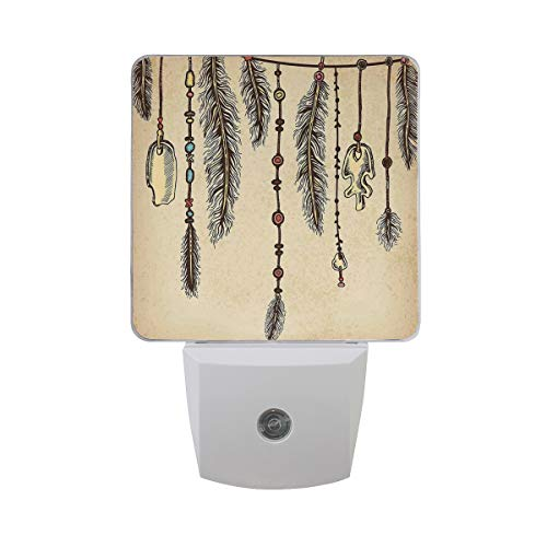 Colorful Plug in Night,Bohemian Ethnic Hair Accessories with Bird Feathers Beads On String Sketch Digital Print,Auto Sensor LED Dusk to Dawn Night Light Plug in Indoor for Childs Adults