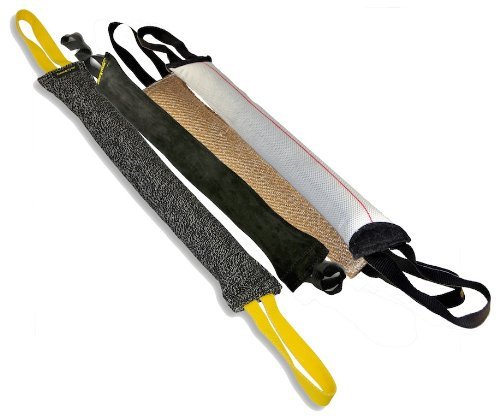 Dean and Tyler Tug Bundle of 4 Large Tugs, 1 Jute, 1 French Linen, 1 Fire Hose and 1 Leather, Tug Size: 24-Inch by 4-Inch, My Pet Supplies