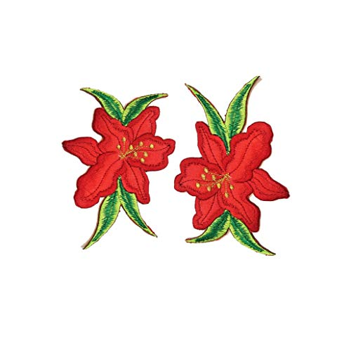 Nipitshop Patches Red Orchid Lilly Flowers Embroidered Sew On Applique Floral Lace Patch Milk Fiber Sewing Trims Clothes Wedding Dress Craft DIY