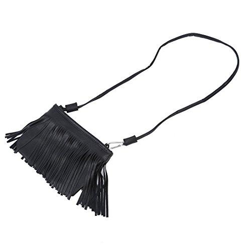 SODIAL (R) Elegante borsa croce corpo Donna Fringe nappa Messenger (nero)