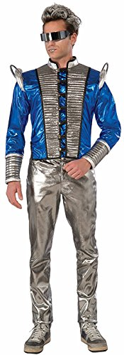 Forum Men's Futuristic Fantasy Jacket Adult Costume, -Silver/Blue, One Size ()