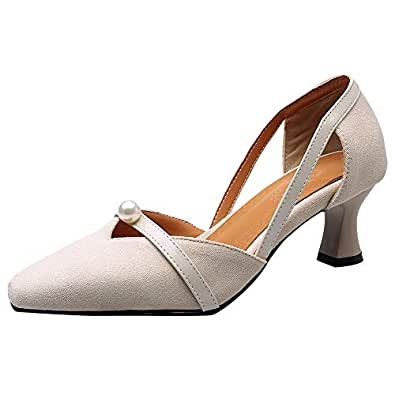 BeiaMina Women Sweet Court Shoes Wine Glass Heel Pearls Side Hollow Spring Summer Daily Shoes Beige Size 32 Asian
