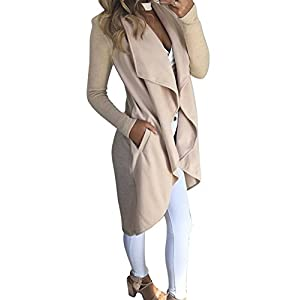 Kbook Women's Winter Irregular Wide Lapel Pockets Open Front Long Trench Coat Cardigan