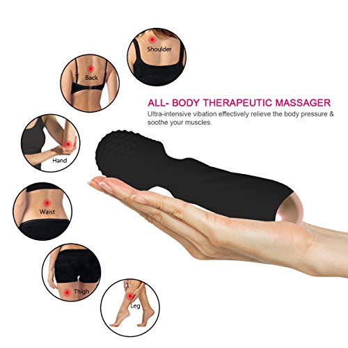 Wireless Mini Handheld Wand Massager with 12 Silent Frequency Modes, Personal Waterproof Rechargeable Power Massager for Relieving Body Muscle Soreness (NL-Black)