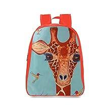 Farmost Giraffe with Hummingbirds Backpack Red School Bags Travel Bag for Kids Medium